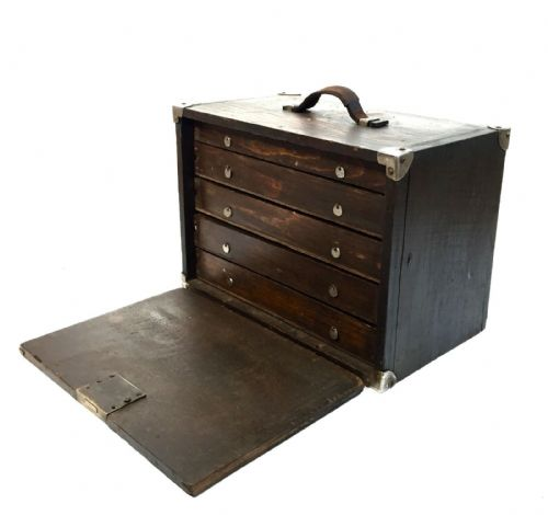 Antique Wooden  Engineers Toolbox / Tool Cabinet / Collectors Chest / Vintage
